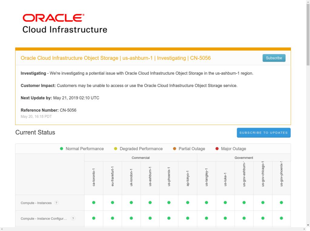 Oracle Cloud Status