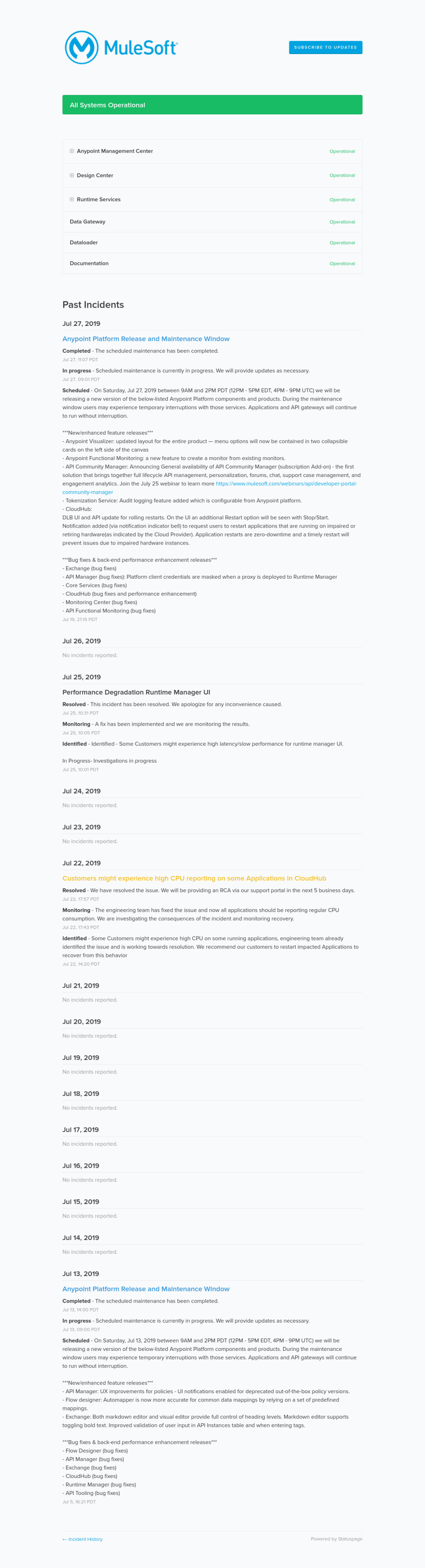 Mulesoft Anypoint Status